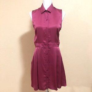 Theory SZ 6 Eggplant Soreda Silk Collared Dress